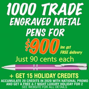 National Promo Hot Offer 1000 Engraved trade pens for $900. Spend $1200 in 2020 and get a FREE Holiday