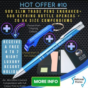 National Promo Hot Offer #10 500 Engraved Pens, 500 Engraved Keyrings, 20 A4 compendiums, https://nationalpromo.com.au, Spend $1200 in 2020 and get a FREE Holiday