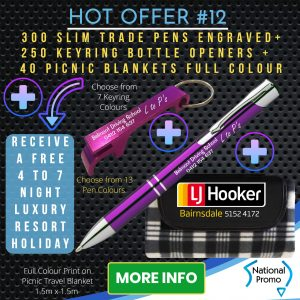 National Promo Hot Offer #12 300 Engraved Pens, 250 Engraved Keyrings, 40 Picnic Blankets, https://nationalpromo.com.au, Spend $1200 in 2020 and get a FREE Holiday