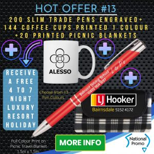 National Promo Hot Offer #13 200 Engraved Pens, 20 picnic blankets, 144 coffee cups printed 1 colour, https://nationalpromo.com.au, Spend $1200 in 2020 and get a FREE Holiday