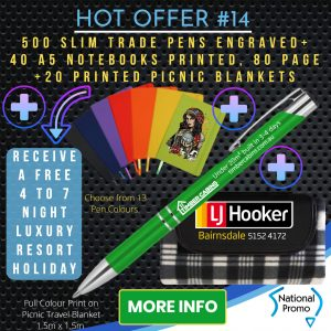 National Promo Hot Offer #14 500 Engraved Pens, 40 A5 notebooks, 20 picnic blankets, https://nationalpromo.com.au, Spend $1200 in 2020 and get a FREE Holiday
