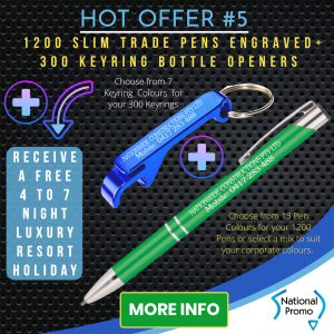 National Promo Hot Offer #5 Engraved Pens & Keyrings, https://nationalpromo.com.au, Spend $1200 in 2020 and get a FREE Holiday