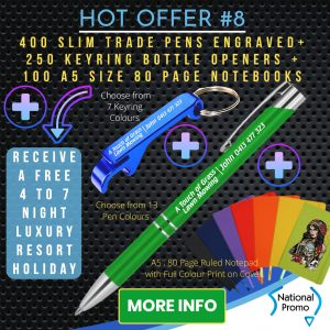 National Promo Hot Offer #8 400 Engraved Pens & 250 Keyrings, A5 size Notebooks, https://nationalpromo.com.au, Spend $1200 in 2020 and get a FREE Holiday
