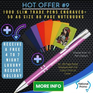 National Promo Hot Offer #9 1000 Engraved Pens A5 size Notebooks, https://nationalpromo.com.au, Spend $1200 in 2020 and get a FREE Holiday