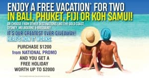 National Promo   Spend $1200 in 2020 and get a free 4-7 night Holiday